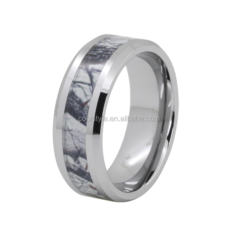 New tungsten tree camo inlay tungsten carbide ring for men