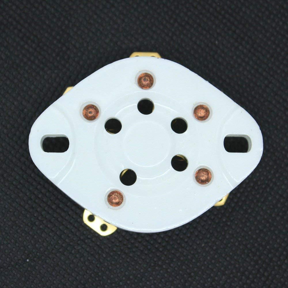 10Pcs 5Pin Gold Chassis Ceramic Vacuum Tube Socket Base For 807 FU7 27 46 47 37
