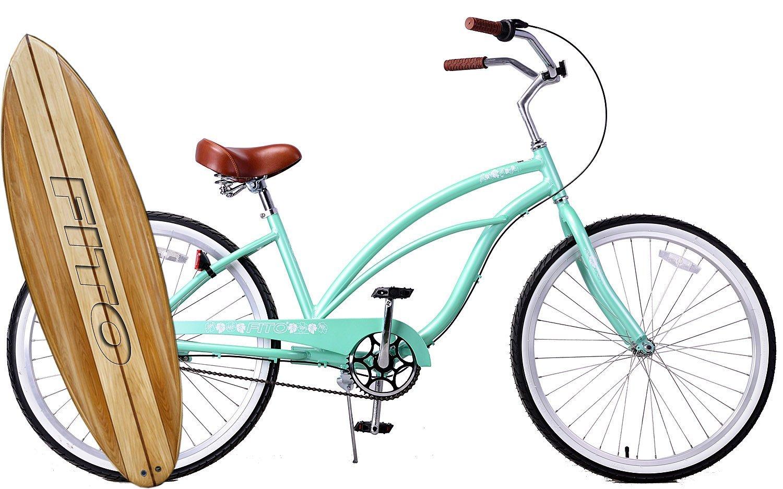 "Anti Rust Light Weight Aluminum Alloy Frame, Fito Marina Alloy 3-speed for women - Mint Green, 26"" wheel Beach Cruiser Bike Bicycle"
