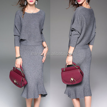 605d529378f Women Two Piece Knitted Crew Neck Mermaid Midi Evening Dress Wholesale  Custom Manufacturer China Agent