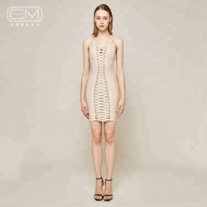Modern Stylish Sleeveless Beige Bandage Mini Women Party Dresses Sexy