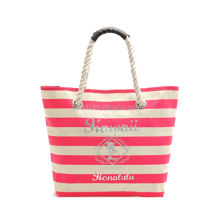 Hot Sale Rope Handle Tote Bag Stripe Canvas Beach Tote Bag ...