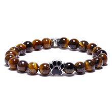 BOYULIGE хит продаж 8 мм цветной браслет из натурального камня для йоги для мужчин и женщин, ювелирный браслет для собак, кошек, следов лап(Китай)