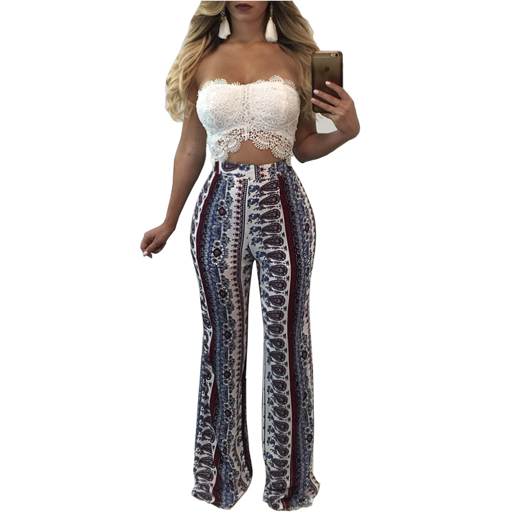Women's Palazzo Pants With Pockets - High Waist - Solid and Printed Designs