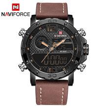 Мужские часы от роскошного бренда, мужские кожаные спортивные часы NAVIFORCE, Мужские кварцевые светодиодные цифровые часы, водонепроницаемые ...(Китай)