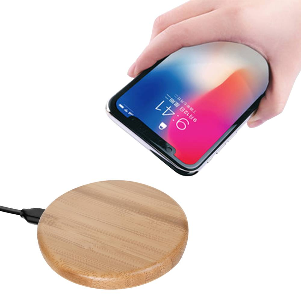 2018 Mobile Phone Gadget Qi Fast Charging Pad Bamboo Wireless Mi Cell Charger