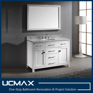"Three-hole faucet modern 48"" bathroom vanity cabinet"