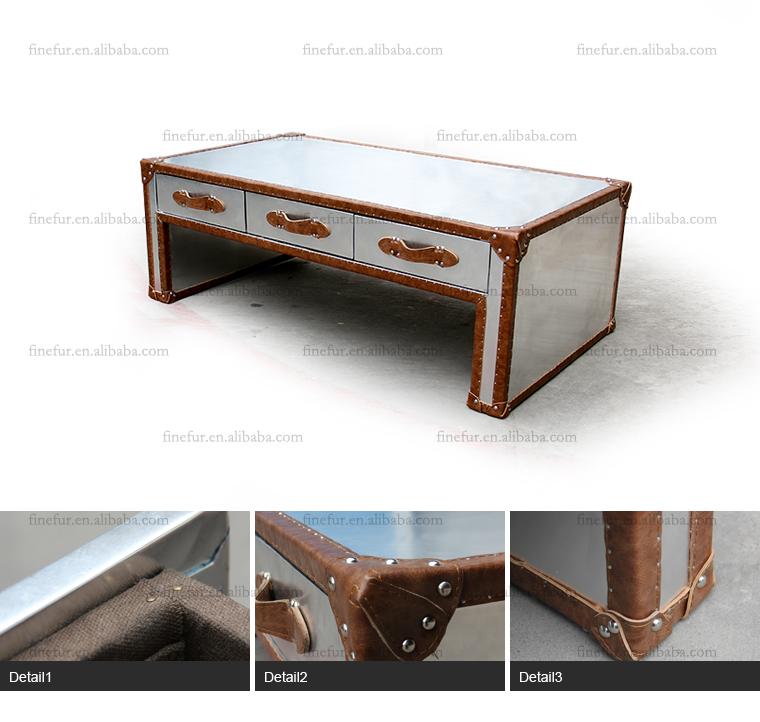 Metal Aviator Coffee Table, Aluminium Side Table, Coffee Table with Drawers - Metal Aviator Coffee Table,Aluminium Side Table,Coffee Table With