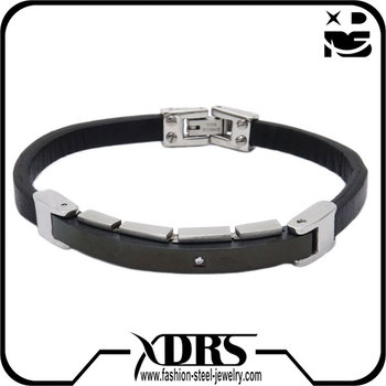 cbe3f2129e9 Fashion plain black leather ankle bracelet with stainless steel clasp