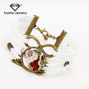 D istinctive women's jewelrySanta Claus multi-layer woven glass love bracelet christmas jewelry ladies fancy accessories