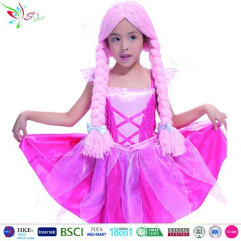 styler brand children long pink braided wig braid party halloween kids synthetic hair wigs