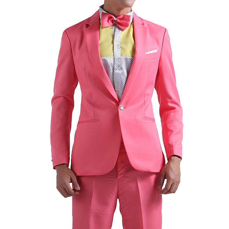 Buy 2015 New Arrival Men Pink Light Blue Suit Fashion Single Button ...