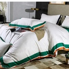 Hotel Luxury Satin duvet cotton Bed Sheet Bedding Comforter Set Green Stripe bed set