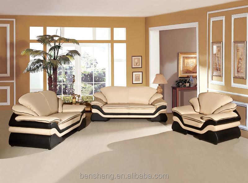 B123 Foshan Shunde Furniture Manufactory Luxury European Style Cow Leather  Sofa Living Room Sofa