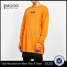 2016 Christmas Long Sleeve T-shirt Wholesale Orange Big Size Apparel Custom Made Mens Over Size Longline Tshirts
