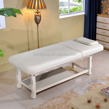 European Wood Carved White Painted Massage Bed Home Furnishing Massage Table