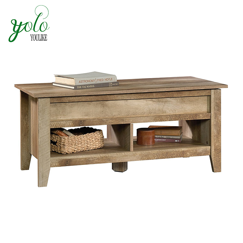 Rustic Wood Hidden Storage Beneath Top Coffee Table