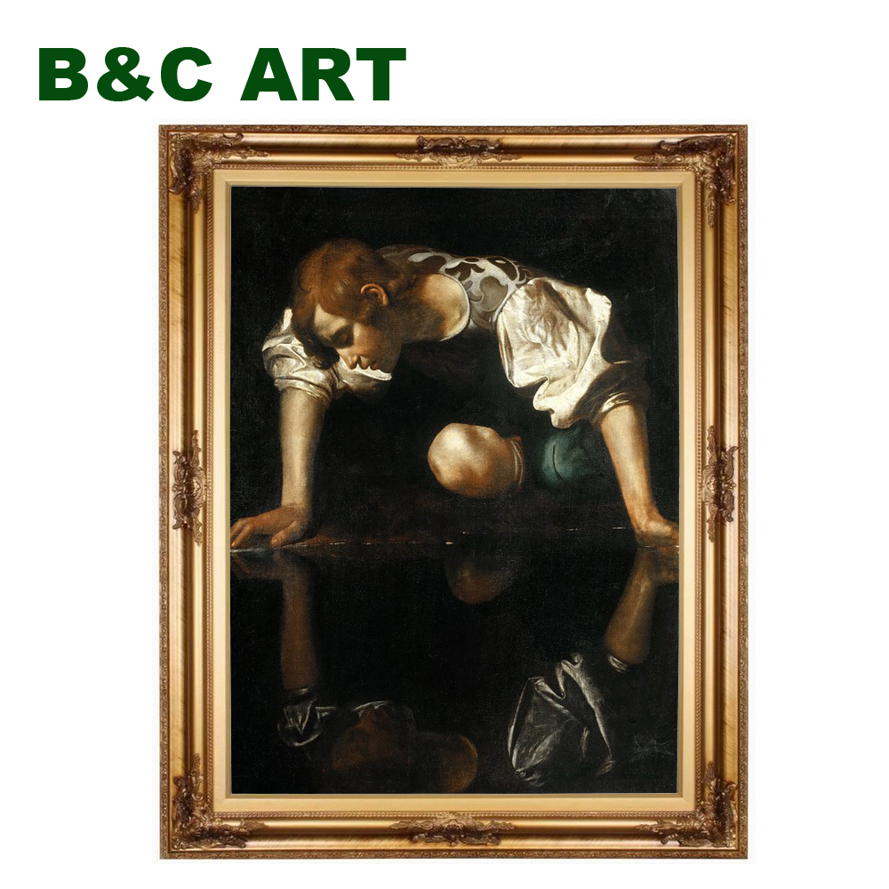 Reproduction classic male Narcissus Michelangelo Merisi da Caravaggio famous old art paintings with frame