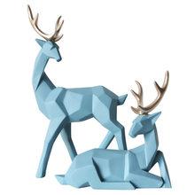 Подарок в скандинавском стиле 3D твердые геометрические счастливые олени украшения из смолы ремесло для домашнего интерьера для украшения ...(Китай)