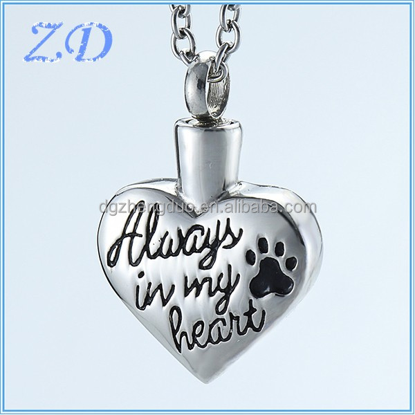 Stainless Steel Pet Urn Pendant Dog Paw Print Always In My Heart Memorial jewelry that holds cremated ashes