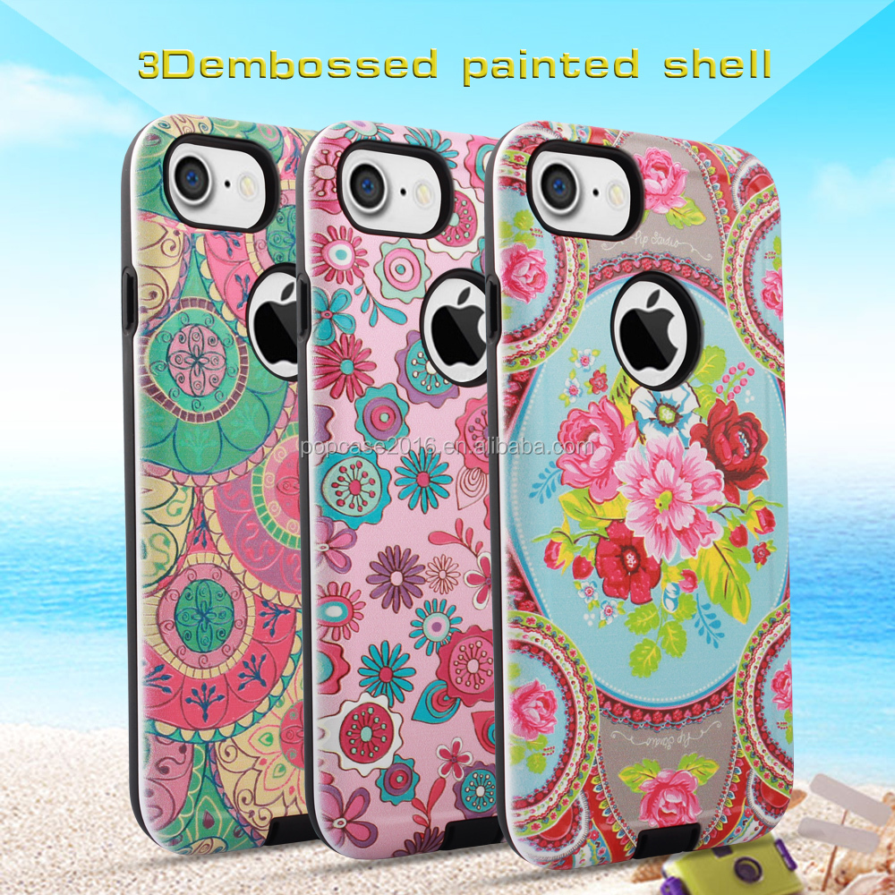 basso-relievo phone shell , beautiful combo phone case ,phone accessories for Iphone 7