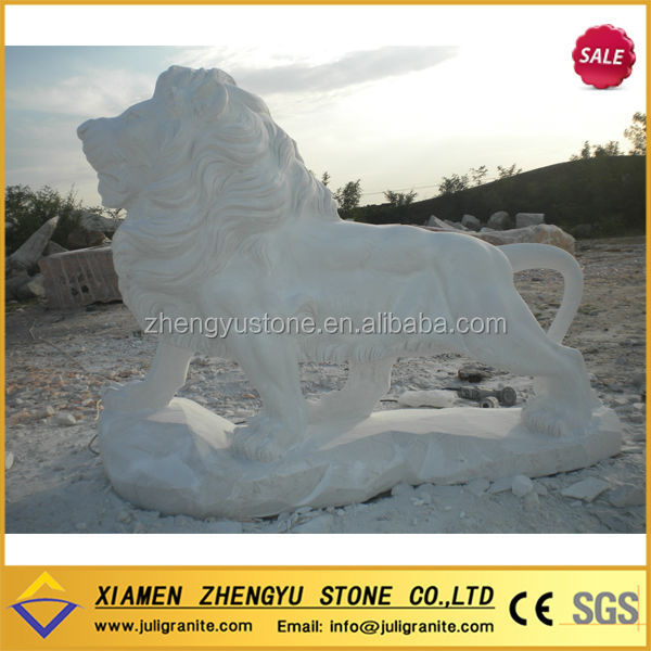 Hot Sell White Marble Lion Statue Carving Sculptures