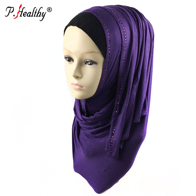 Top selling fashion shawl viscose cotton 8 colors rhinestone jersey hijab scarf