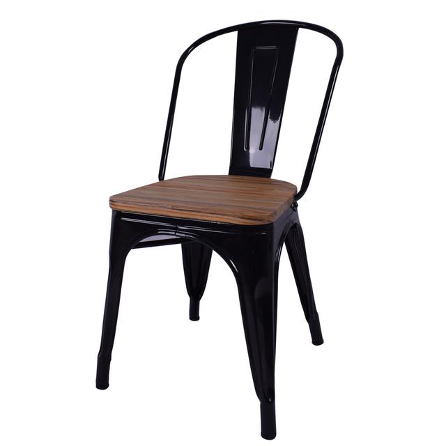 Wholesale Industrial Stackable Bistro Wood Seat Metal Chair Restaurant