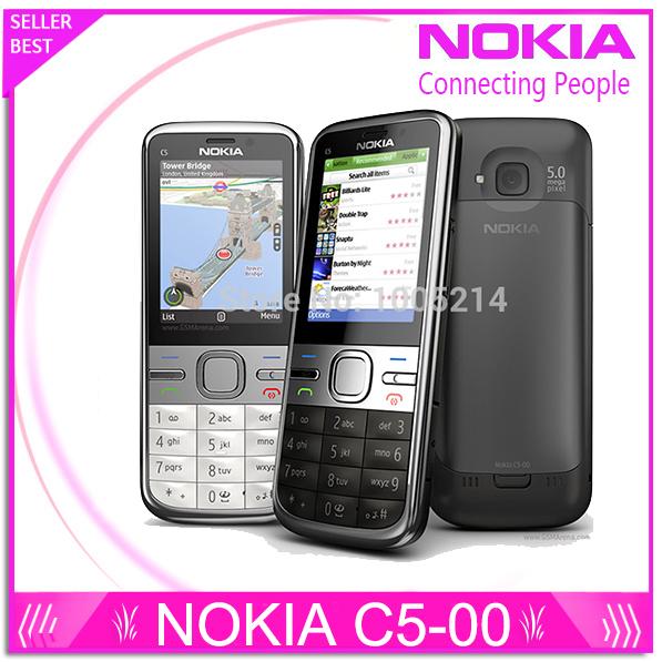 C5-00 Original Phone Unlocked Nokia C5 cell phones GSM 3G 5.0mp Camera FM GPS Bluetooth Refurbished