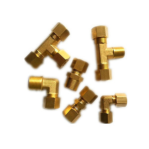 OT58 copper Tube compression Fitting , Male Run Tee 10mm O.D. x 1/4 Male NPT x 10mm O.D. copper pipe