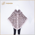 Big Size Elegant Women Knitted 100% Wool Cloak Mink Fur Cape Rex Rabbit Fur Poncho