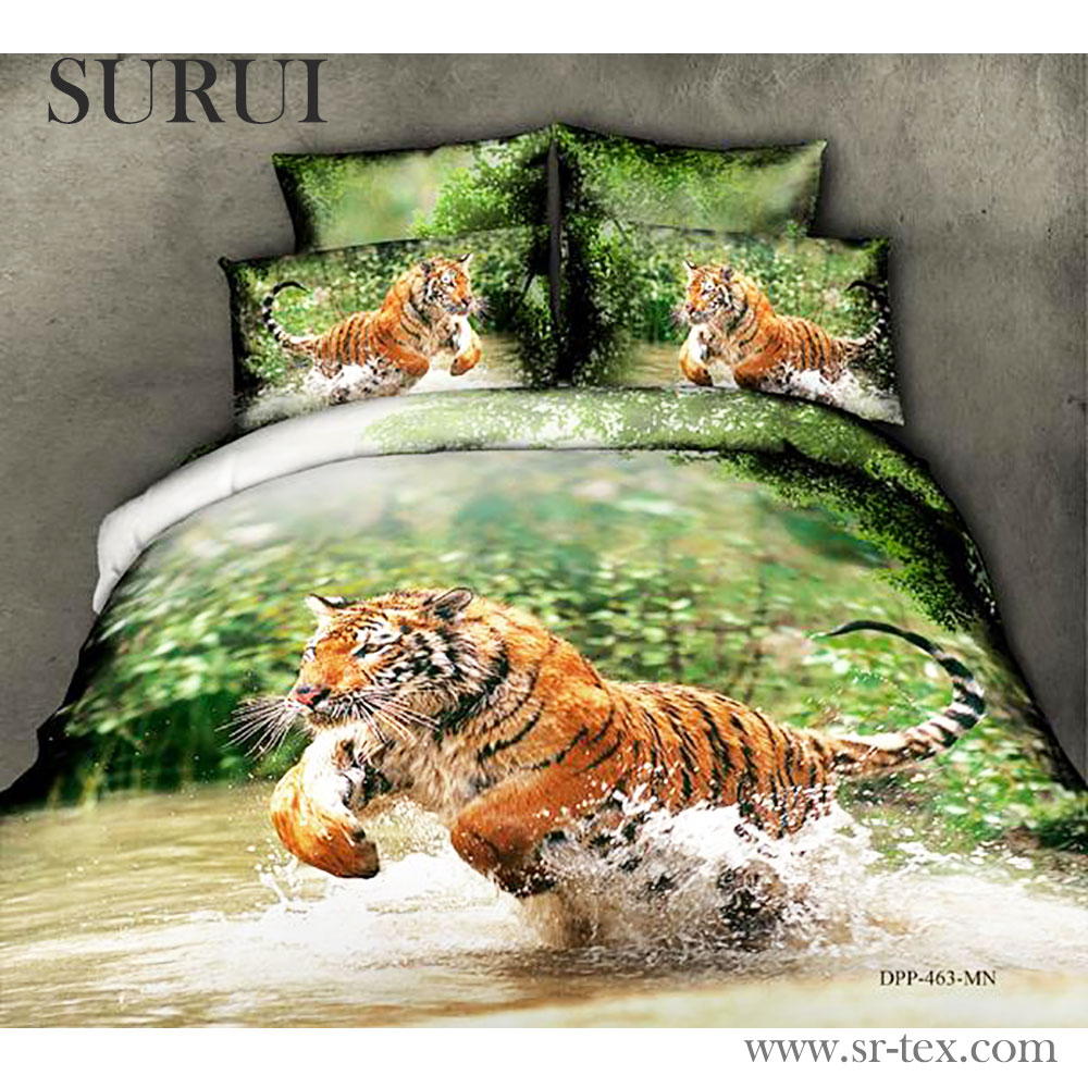 2016 China 100% cotton fabric 3d animal printed bedding set fabric