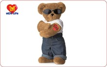 big size plush teddy bear toy with glasses
