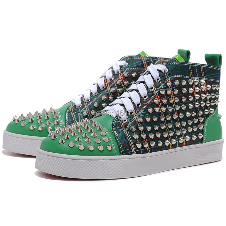 95a35e6549b Hot Sale Best Quality Red Bottoms Shoes Sticher Leather Canvas Mens  Sneakers Red and Green