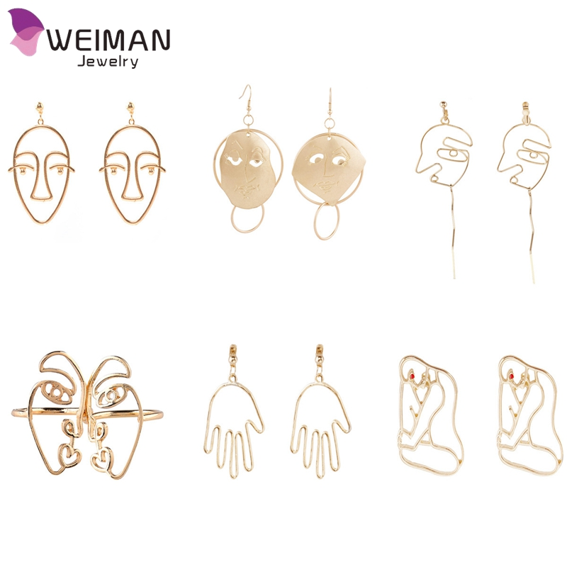 Yiwu Factory Wholesale Top Trendy Drop Earrings Fashion Alloy Men's Face Earring for Women Bijoux