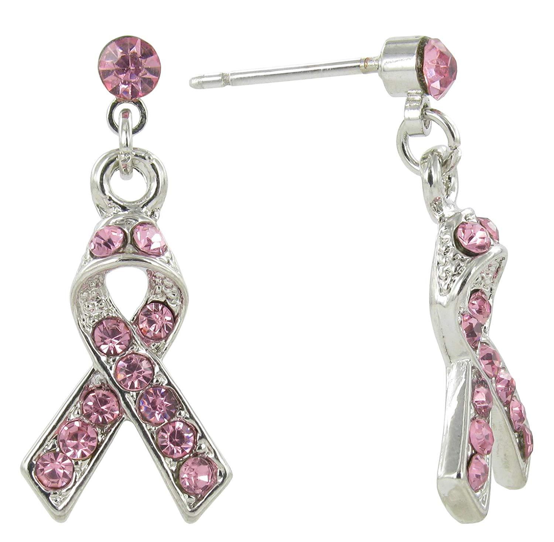 Pancreatic Cancer Awareness Purple Ribbon Silver Hook Earrings Jewelry Gift