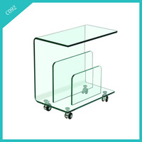 fancy full small glass coffee table/tea table with wheels