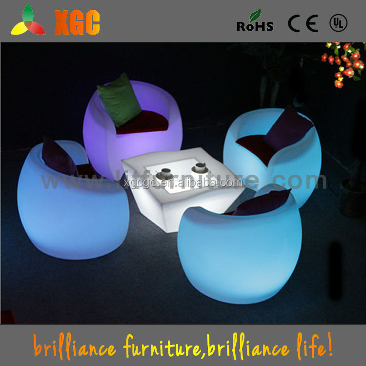 Plastic Illuminated LED Coffee Chair cafe table and chairs