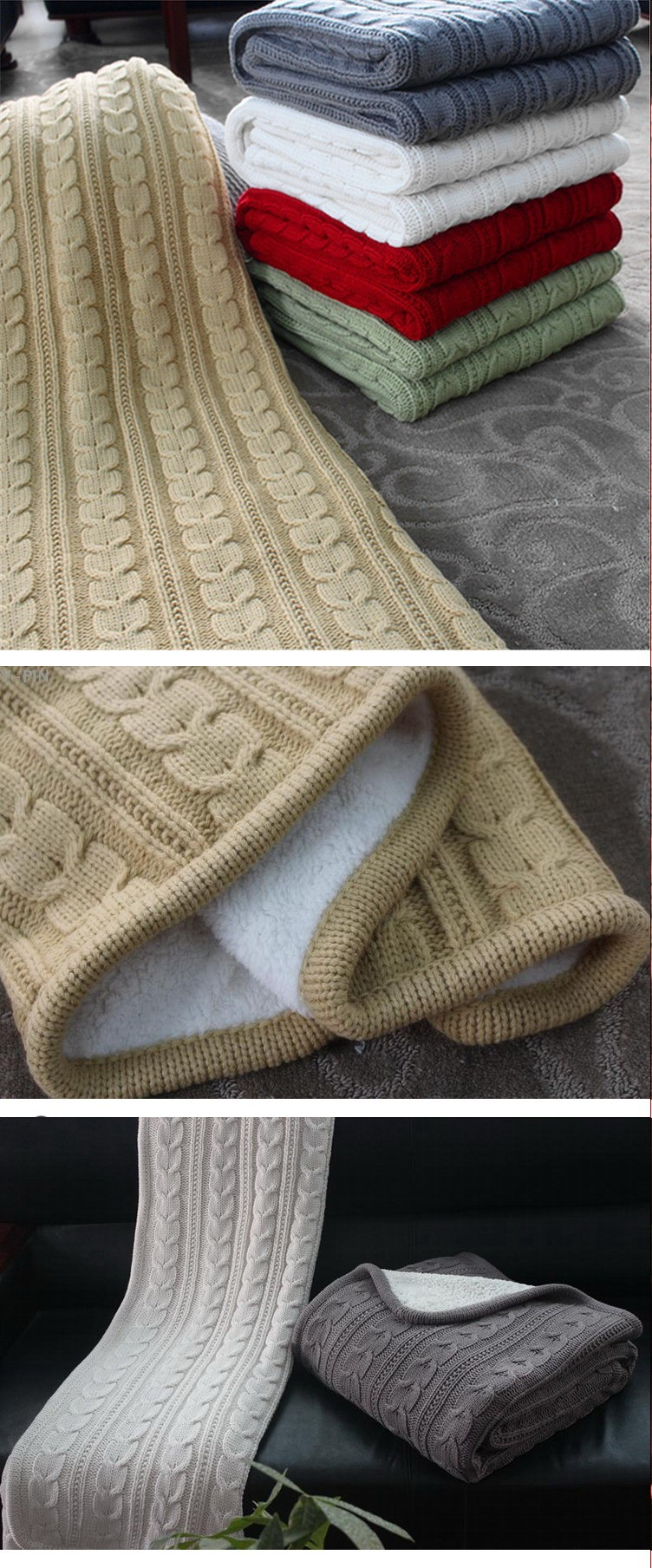Custom Made Cable Knit Blanket Mocha,Hand Made Knit Throw ...