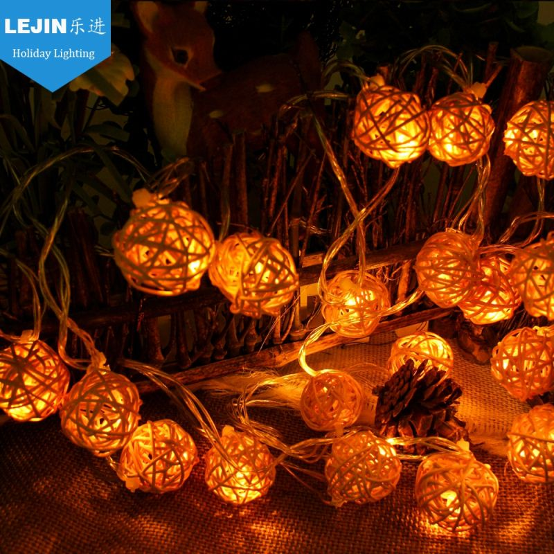 party decoration Rattan ball colorful led string light for halloween