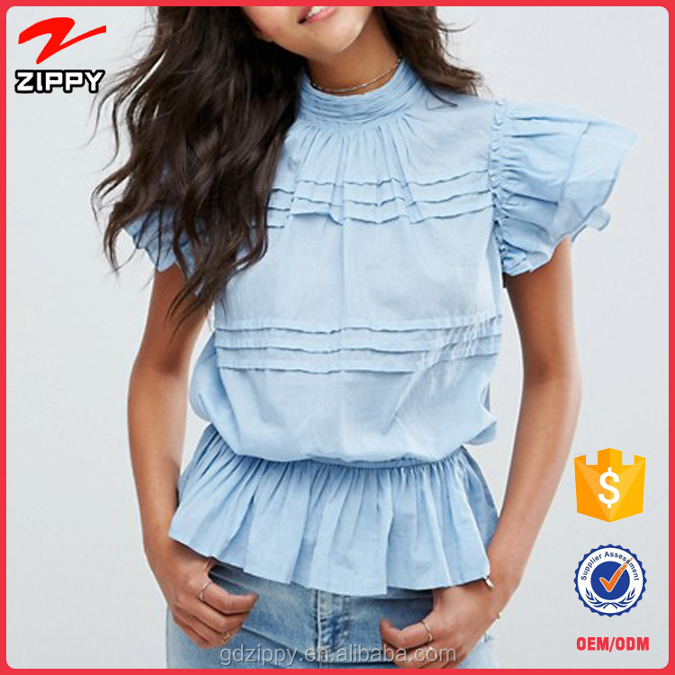 Layered ruffle design Elasticated waist Sleeveless Victoriana Casual Blouse for lady