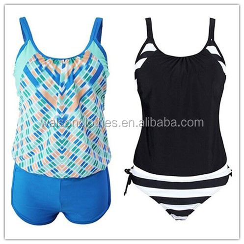 Womens Striped Tankini Swimsuit Bathing Suits Tops Two pieces Bikini Sets