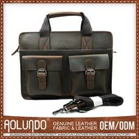 Multifuncation famous brand fashion laptop leather business bags for men