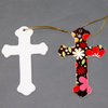 Colorking Heat transfer printing cross pendent necklace blank ceramic holy cross pendant sublimation holy pendent