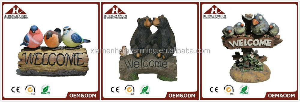 resin funny dog sculpture with welcom sign