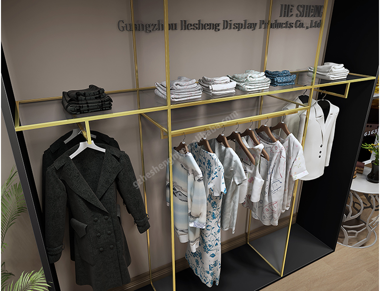 Light luxury style clothing shopfitting. womenswear store wood Tall rack HB06G07