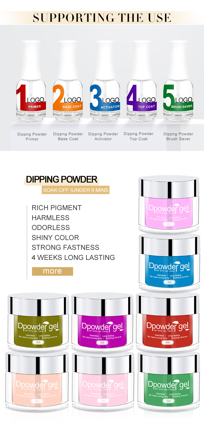VW 2oz Dipping Powder System Custom Private Label Acrylic Powder For Nail 201 Colors Factory Wholesale Dip powder nails system