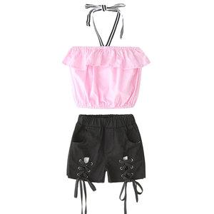 2019 ins girls suit children's suits girls strapless straps denim shorts two-piece suit