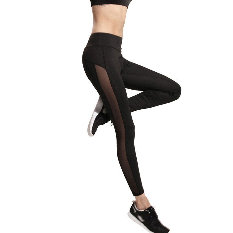 KEBINAI Athletic-leggings Kebinai Women mesh Splice Fitness Slim Black Legging Sportswear legginsbodybuilding