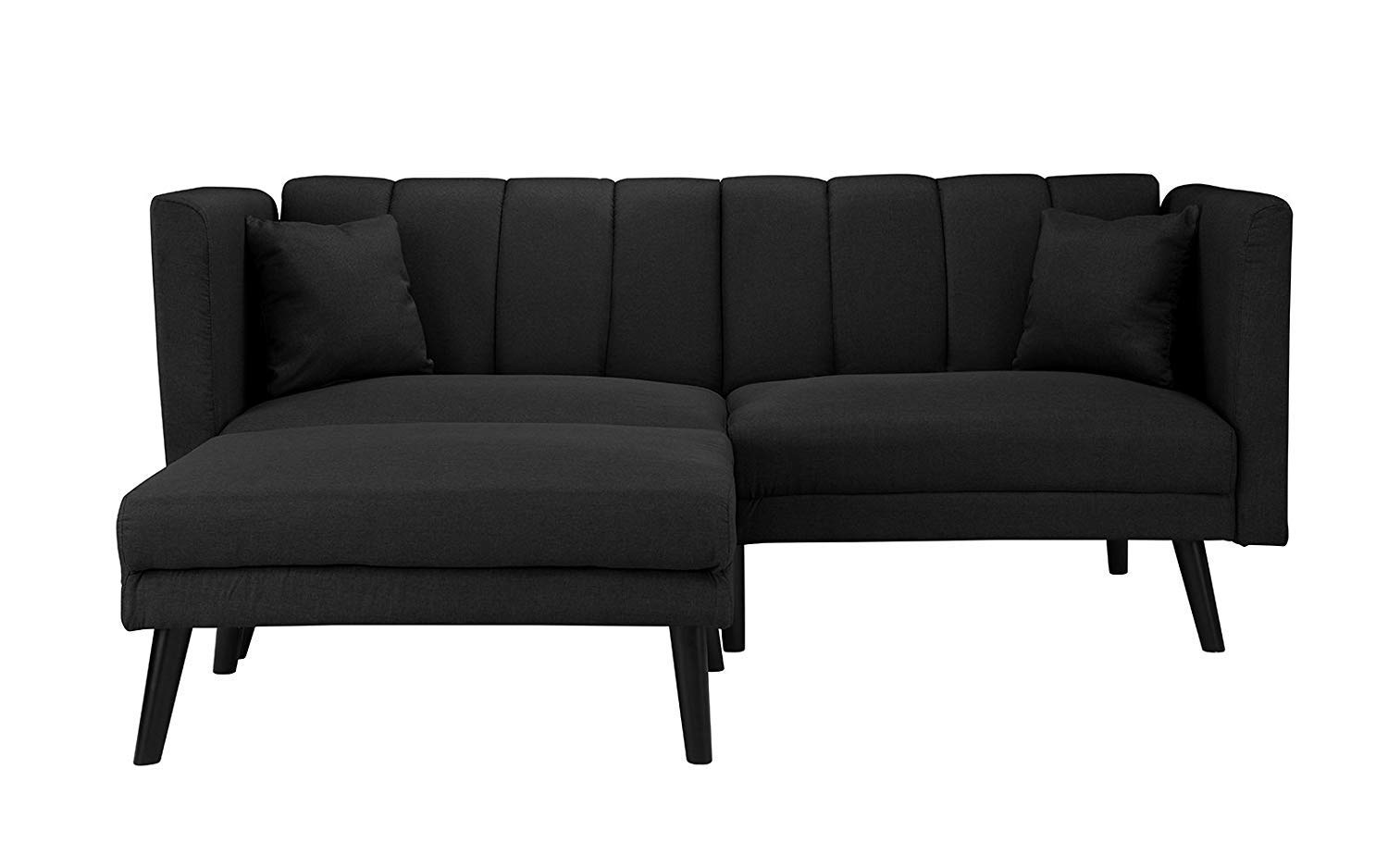 Modern Linen Fabric Futon Sofa Bed, Living Room Sleeper Couch Upholstered Soft Linen Fabric Over Hardwood Sofa Bed with Pillows (Black)